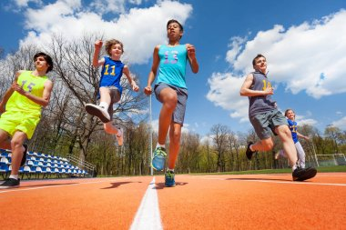 Teenage athletes having fun