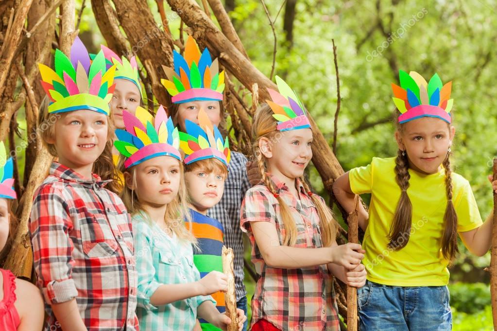 kids playing indians