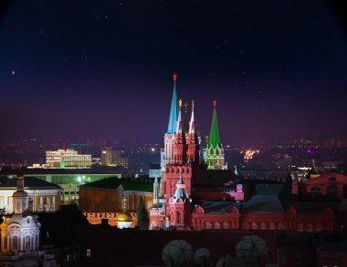 Moscow city skyline under stars