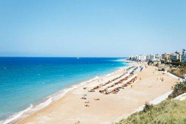 sandy beach of Rhodes in summer