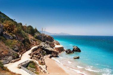 Rhodes sandy beach in summer