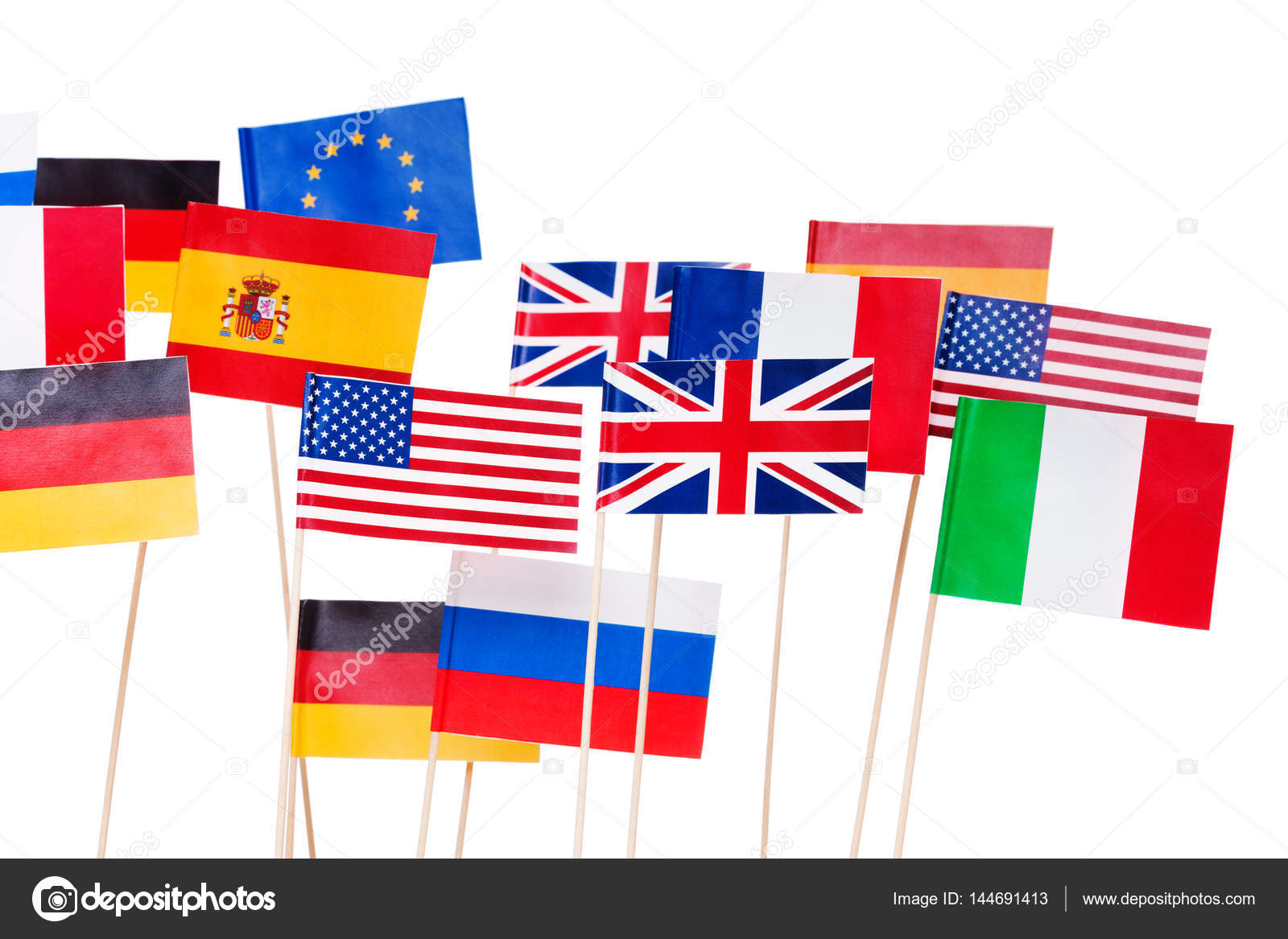 estados unidos y europa banderas peque as fotos de stock