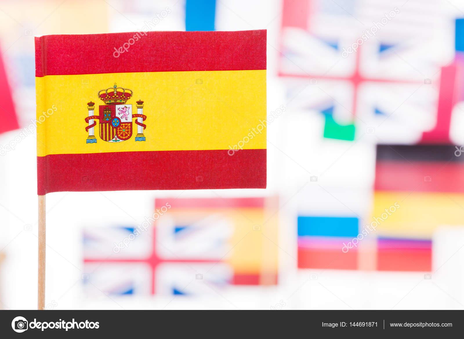 spanish flag against european and usa flags stock photo