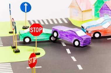 traffic on roads handmade paper maquette