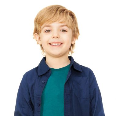 Close-up portrait of joyful blond schoolboy isolated on white background stock vector