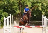 Fotografie Springende Pferd mit Reiterin