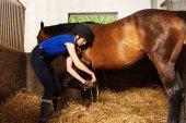 Čištění koně kopyto na stáje a jezdkyně
