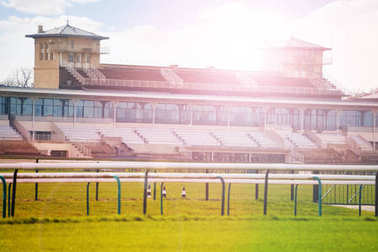 Stands building with racecourse of horse training centre at Chantilly, France