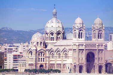 Scenic view of Cathedral of Saint Mary Major in Marseille, France