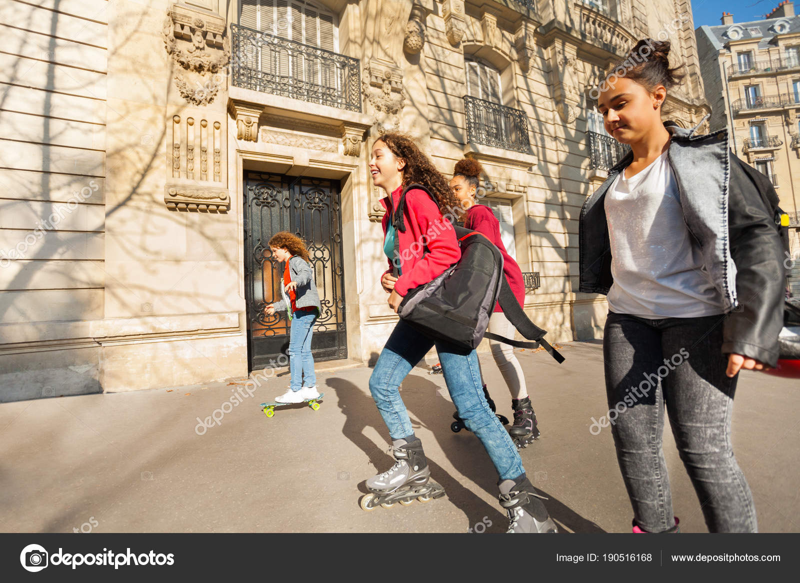sporty teenage boys girls rollerblading city sunny day stock photo rh depositphotos com