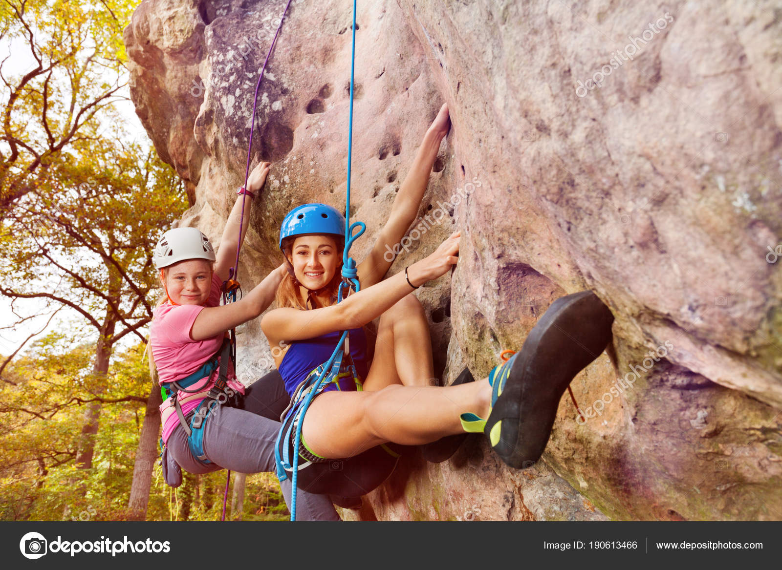 Female Rock Climbers Climbing Gear Attached Harnesses — Stock Photo ... dab6b19bf2