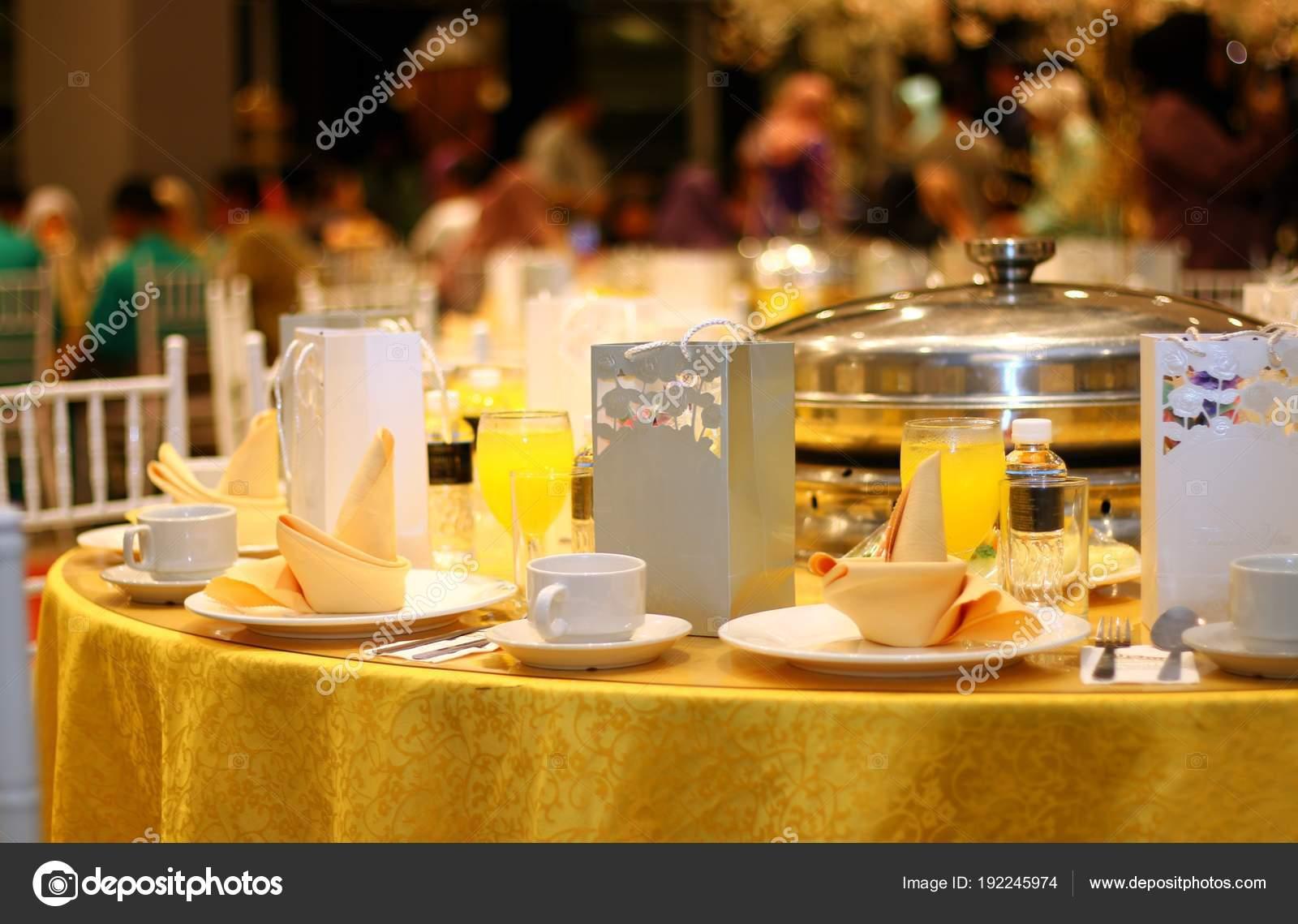 Ballroom table setting and arrangement \u2014 Photo by razihusin & Ballroom Table Setting Arrangement \u2014 Stock Photo © razihusin #192245974