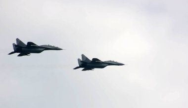 A fighter plane flying over military parade in Novi Sad, Serbia,