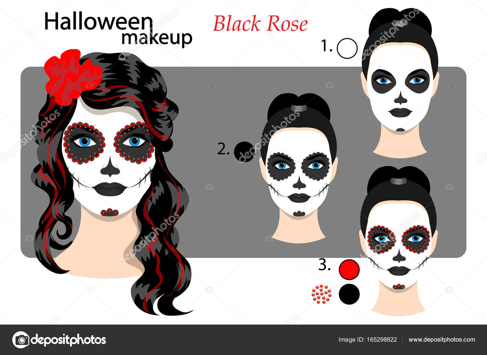 drawing technique makeup halloween face art skull mexican style stock vector