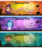 Halloween. Vector illustration. Cartoon characters a witch, a werewolf, a dead bride.