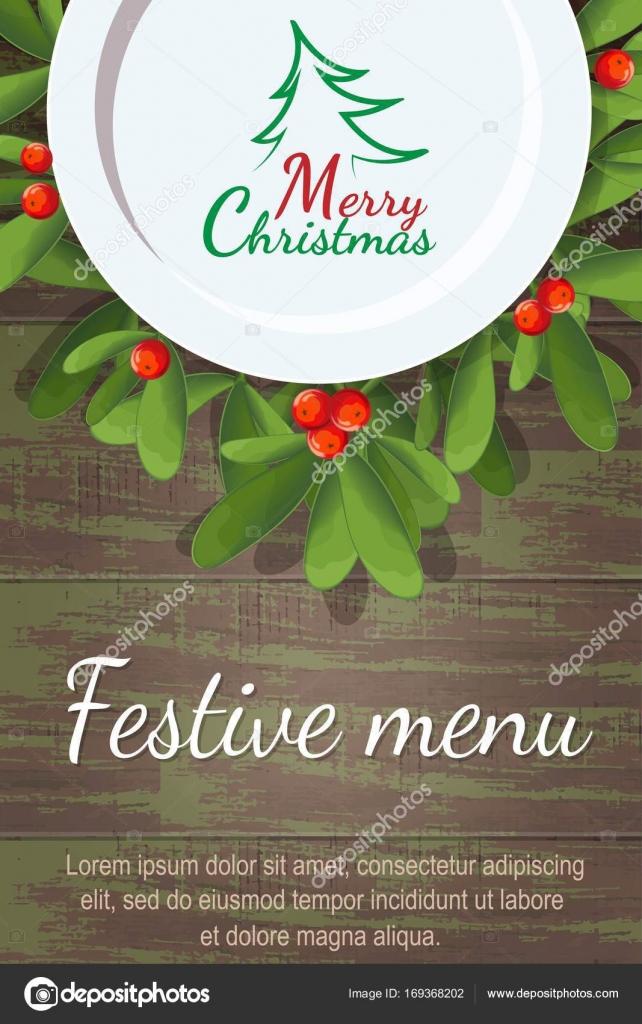 Menu De Noël Pour Restaurant Ou Un Café Plaque Vierge Est