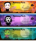Halloween party meghívó. A karakterek are rajzfilmszerű
