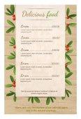 Vánoční menu pro restauraci či kavárně. Prázdná deska je na dřevěný stůl na větvích jmelí. Veselé Vánoce. strom