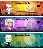 Scheda dellinvito festa di Halloween. I personaggi sono cartone animati