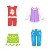 Fényképek baba lány ruha pizsama farmer ruha blúz szoknya, nadrág bagoly minta vektoros illusztráció ikonok