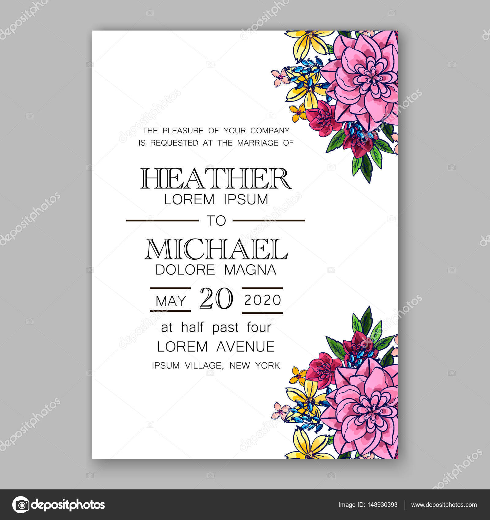 Pink chrysantemum peony wedding invitation card printable template ...