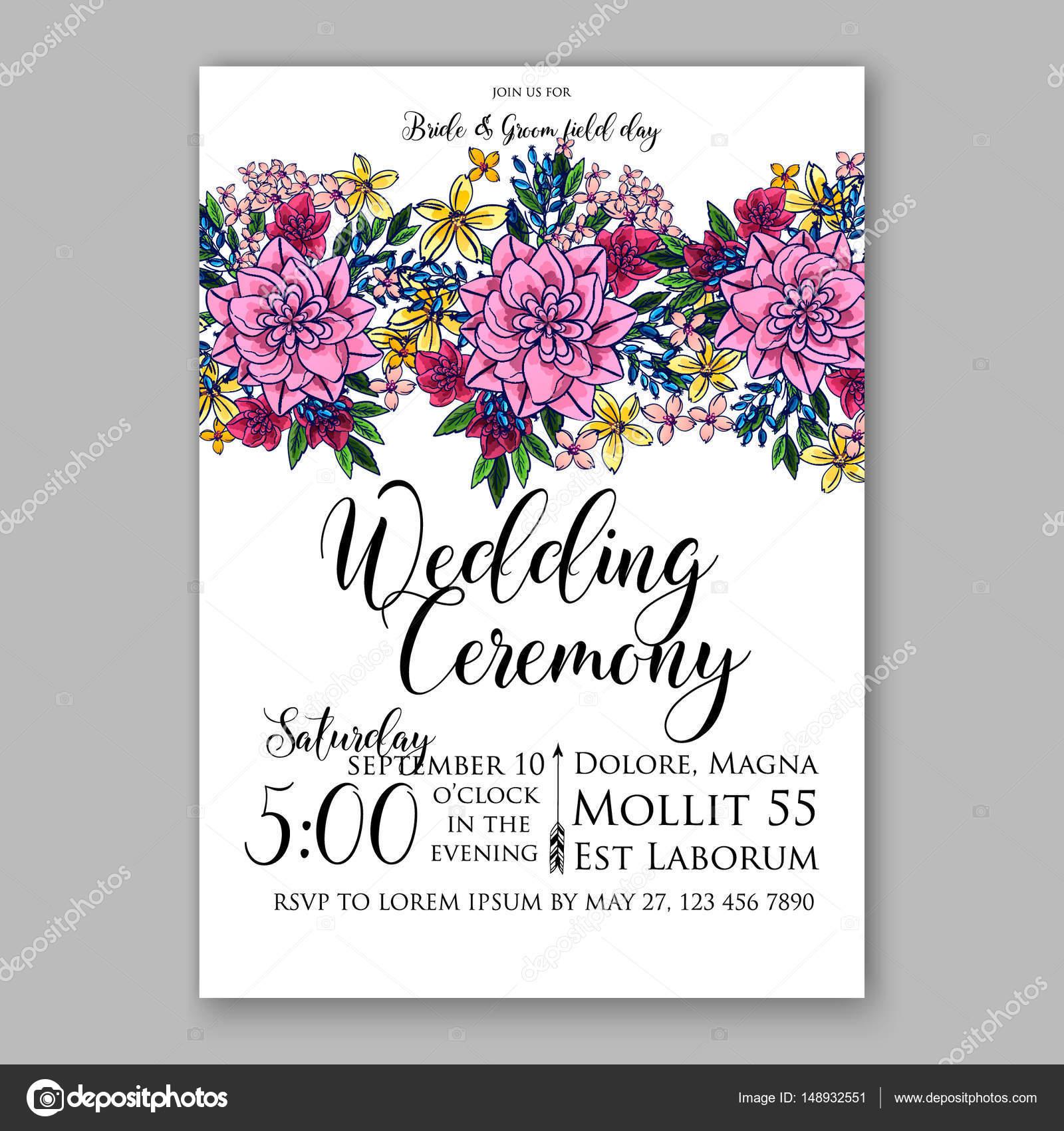 Pink chrysantemum peony wedding invitation card printable template wedding invitation card printable template with pink chrysantemum daisy peony vector by samka ua stopboris Image collections