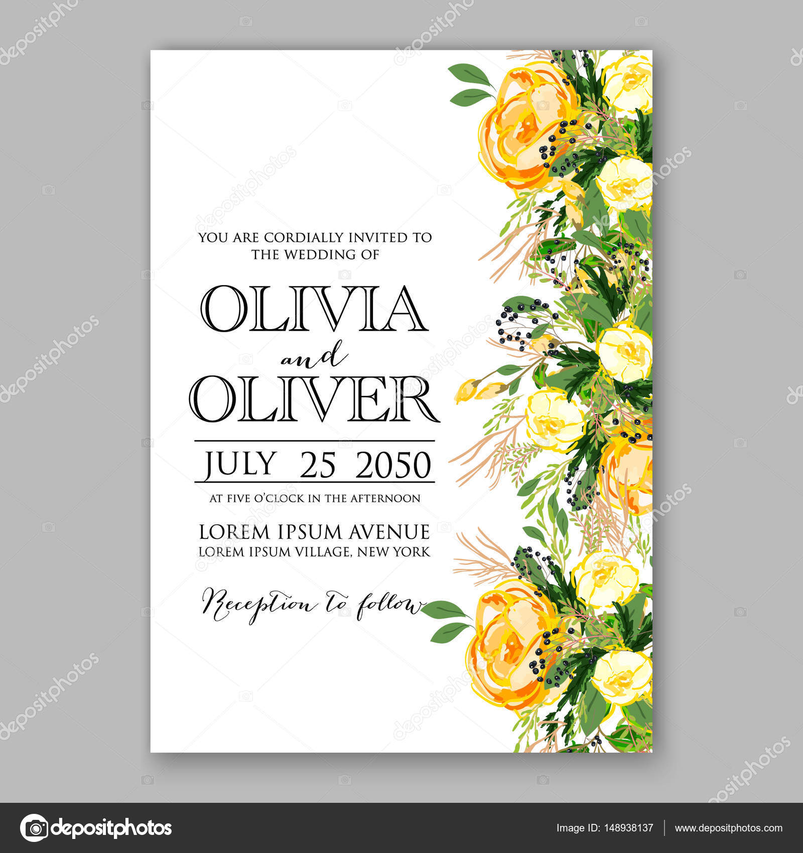 Wedding invitation card Template Yellow rose Floral Printable Gold ...