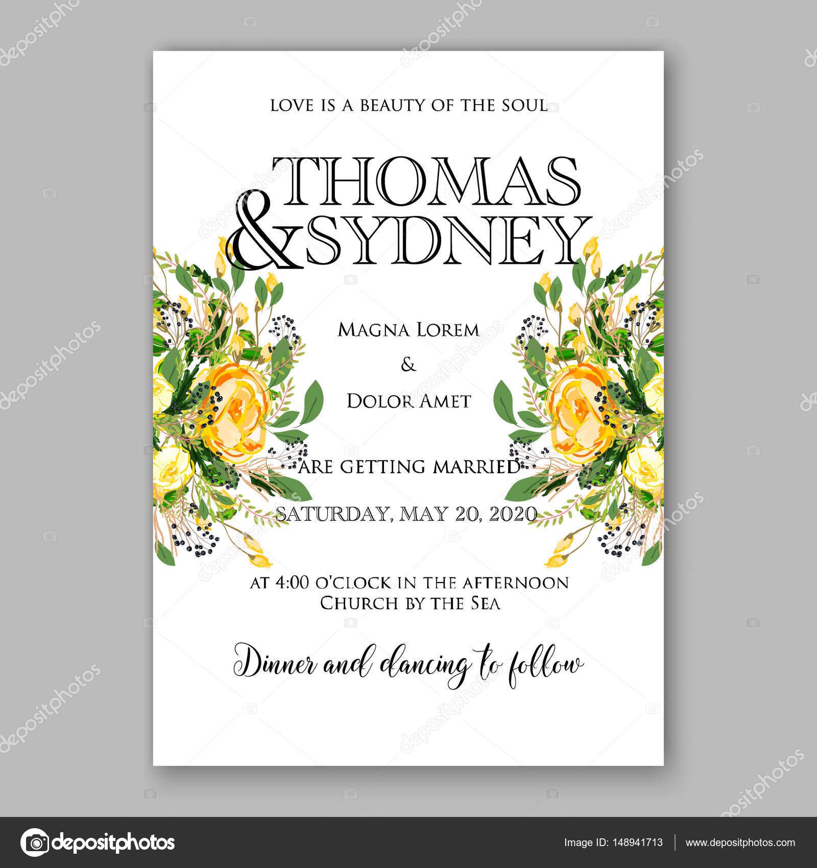 Hochzeit Einladungskarte Vorlage gelbe rose Floral bedruckbare Gold ...