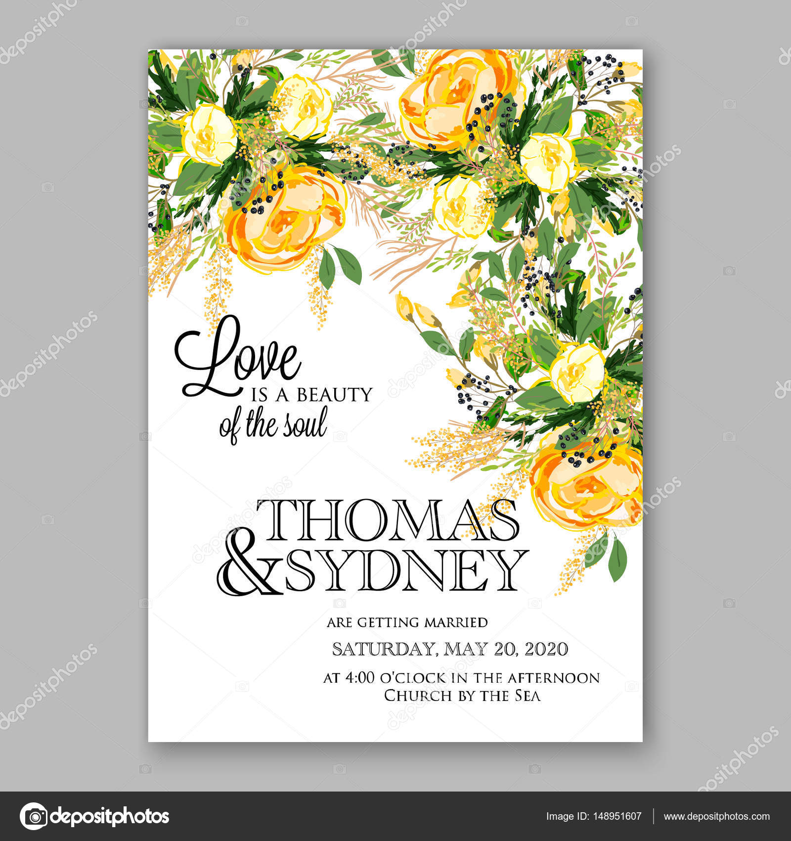 Wedding invitation card template yellow rose floral printable gold wedding invitation card template yellow rose floral printable gold bridal shower invitation suite stock vector stopboris Images