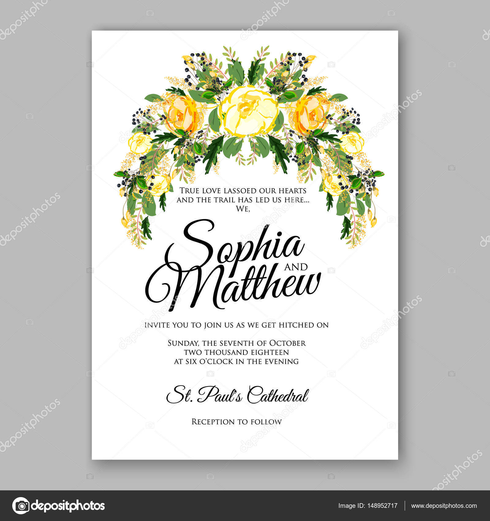 Wedding invitation card template yellow rose floral printable gold wedding invitation card template yellow rose floral printable gold bridal shower invitation suite vector by samka ua stopboris Images