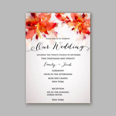 Romantic pink peony bouquet bride wedding invitation template design