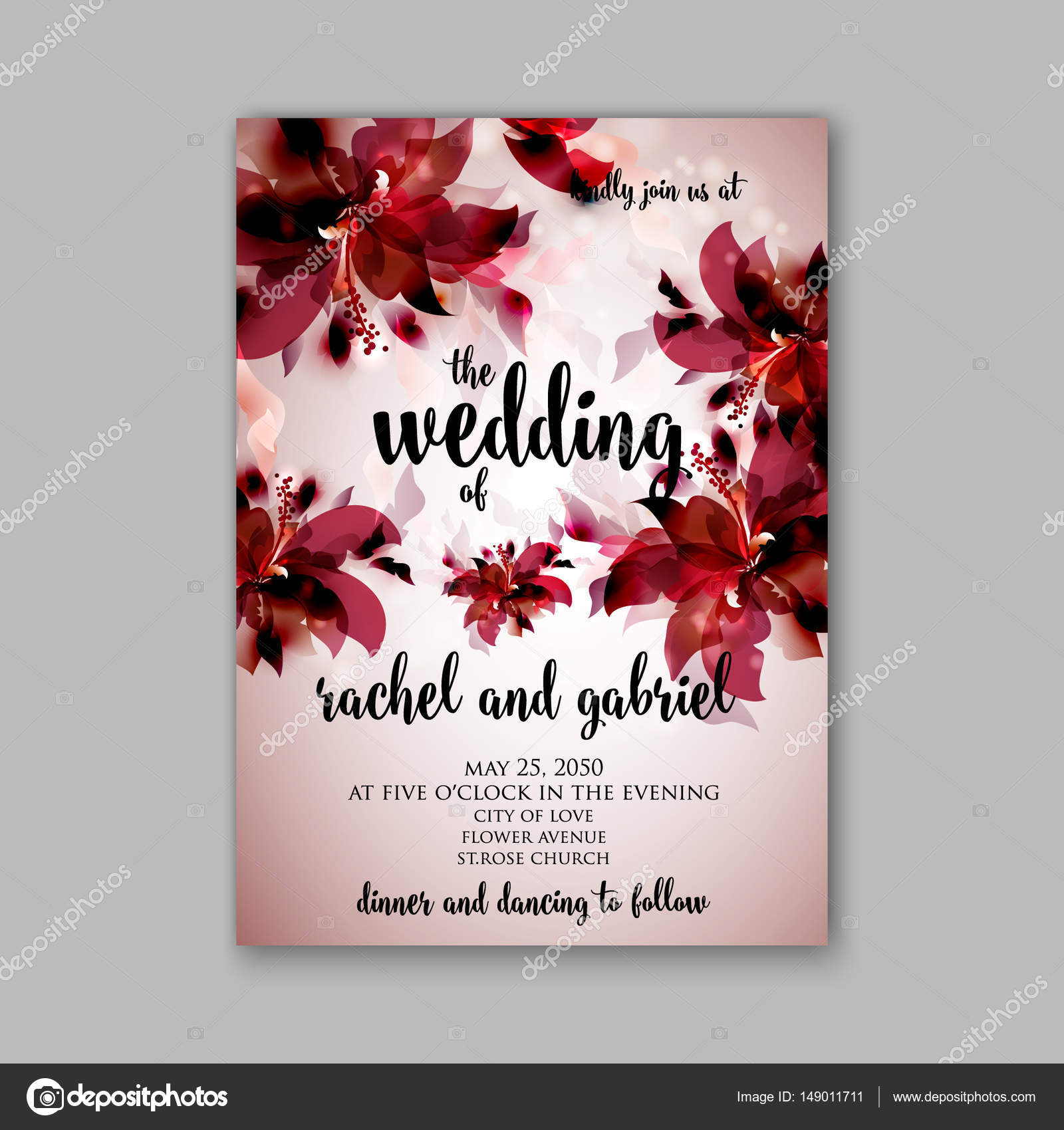 Romantic pink peony bouquet bride wedding invitation template design ...