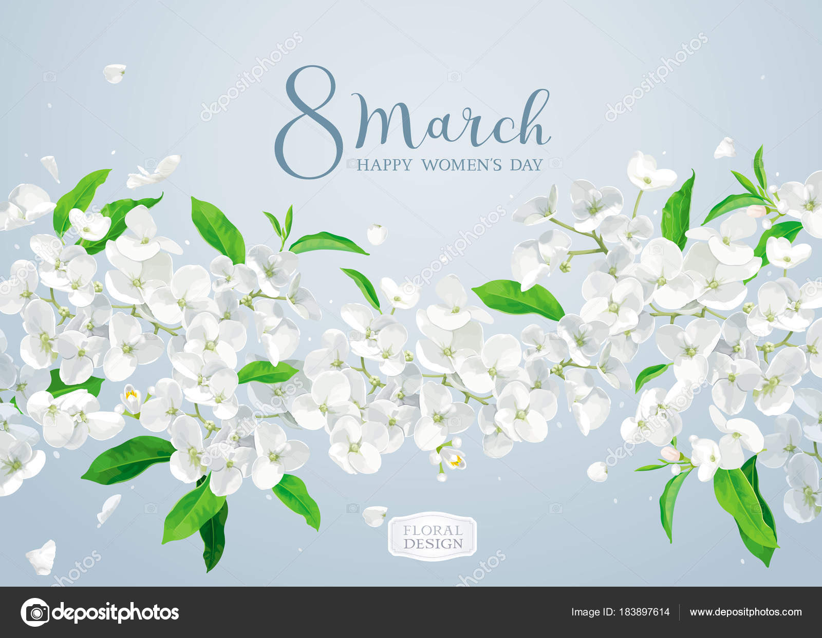 Apple blossom vector greeting card stock vector lisashu 183897614 modern floral vector art luxurious spring apple blossom greeting card in watercolor style for 8 march wedding valentines day mothers day sales and kristyandbryce Images