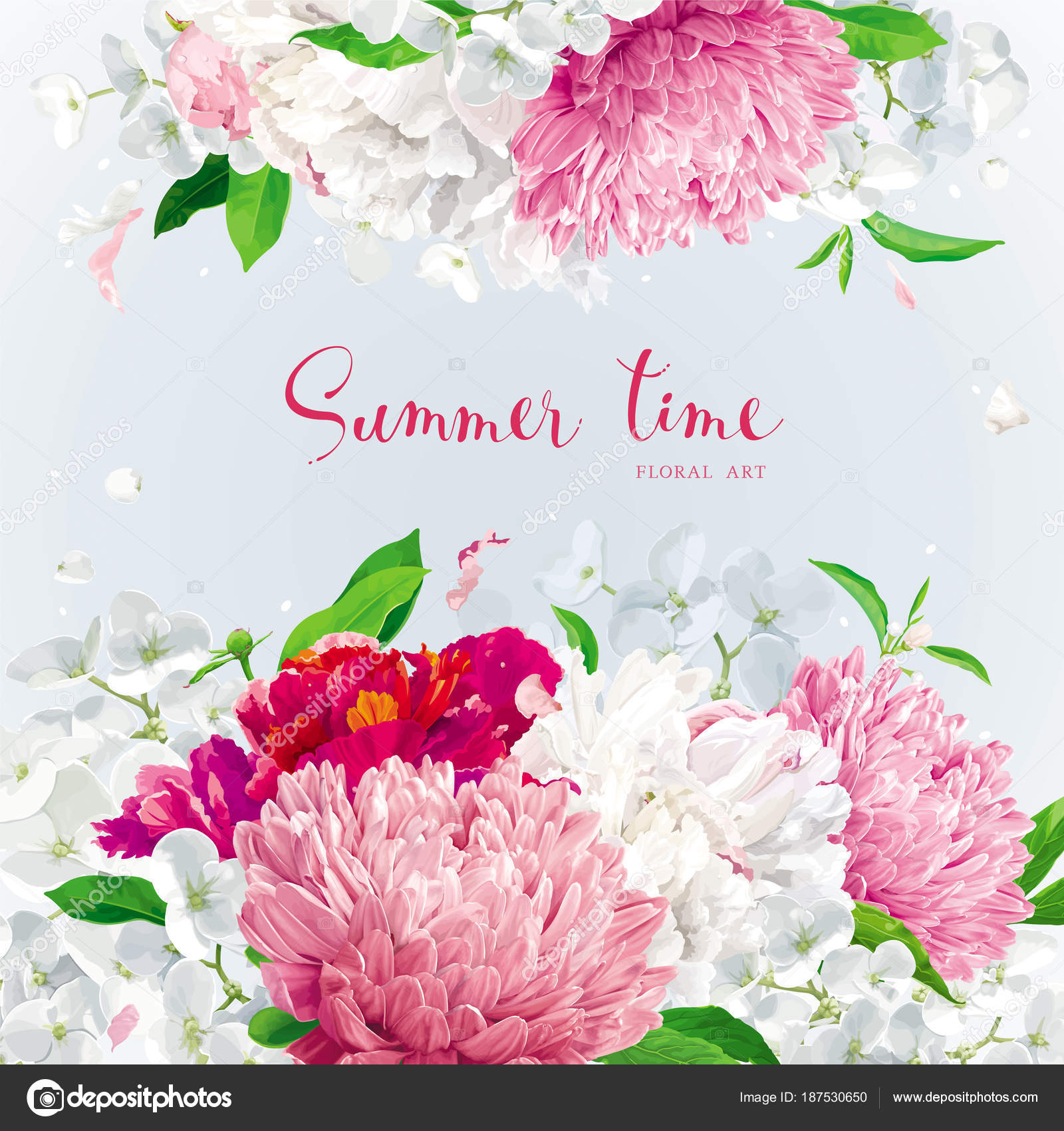 Pink Red And White Summer Flowers Background Stock Vector