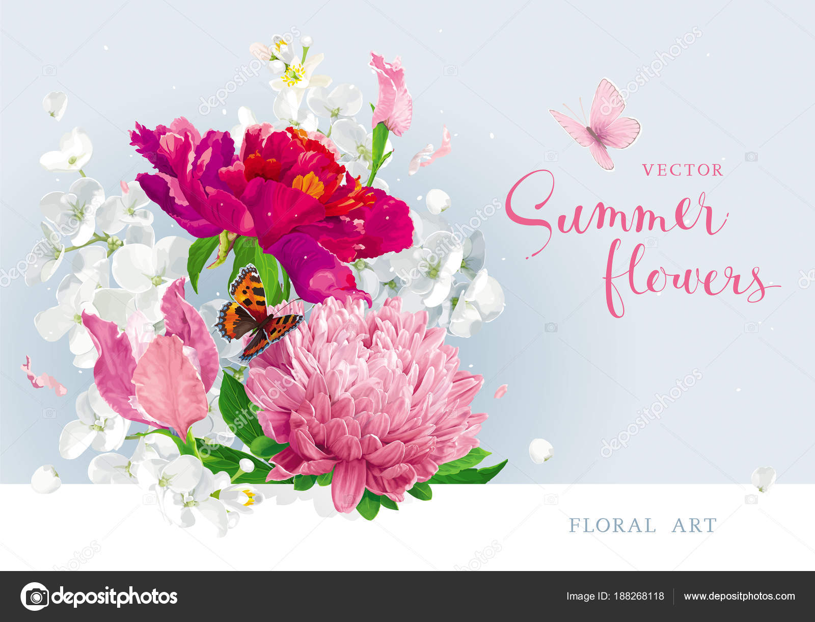 Red pink summer flowers bouquet — Stock Vector © LisaShu #188268118