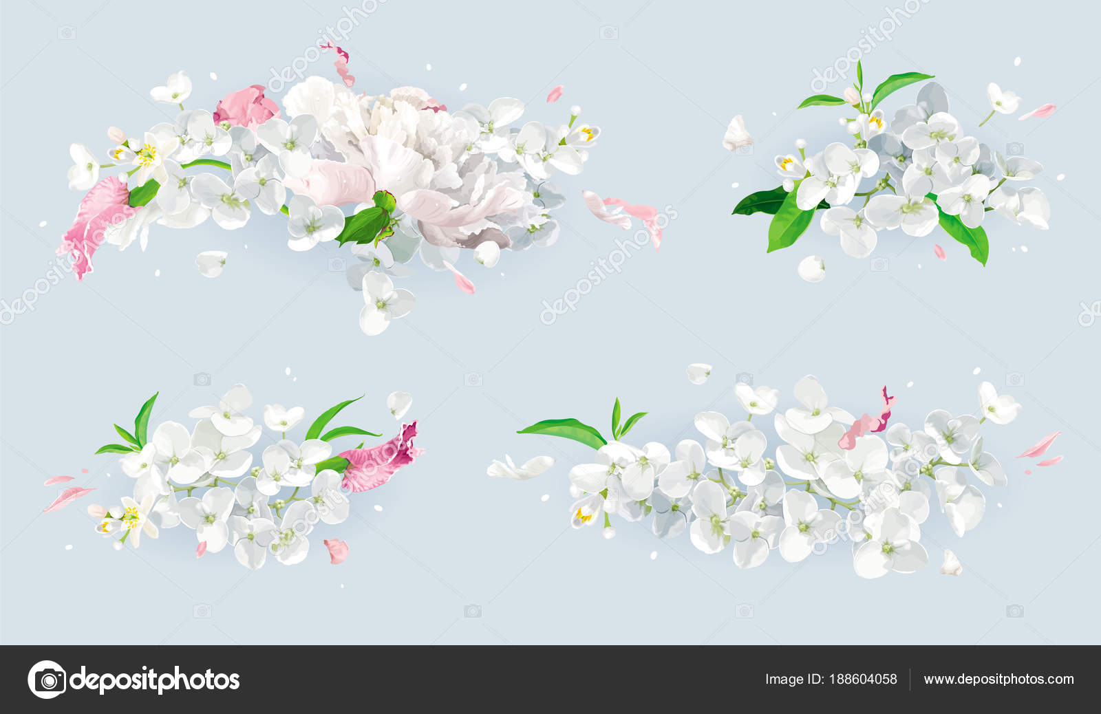 White and pink summer flowers bouquet set — Stock Vector © LisaShu ...