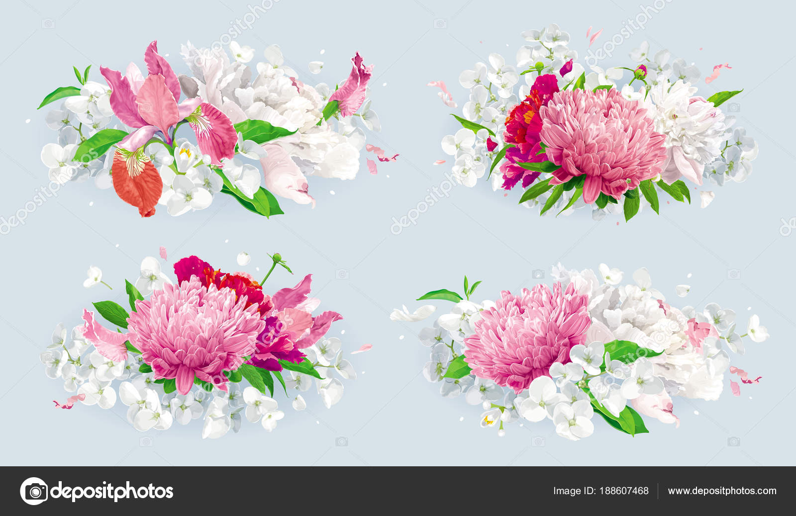 Red pink summer flowers bouquet set — Stock Vector © LisaShu #188607468