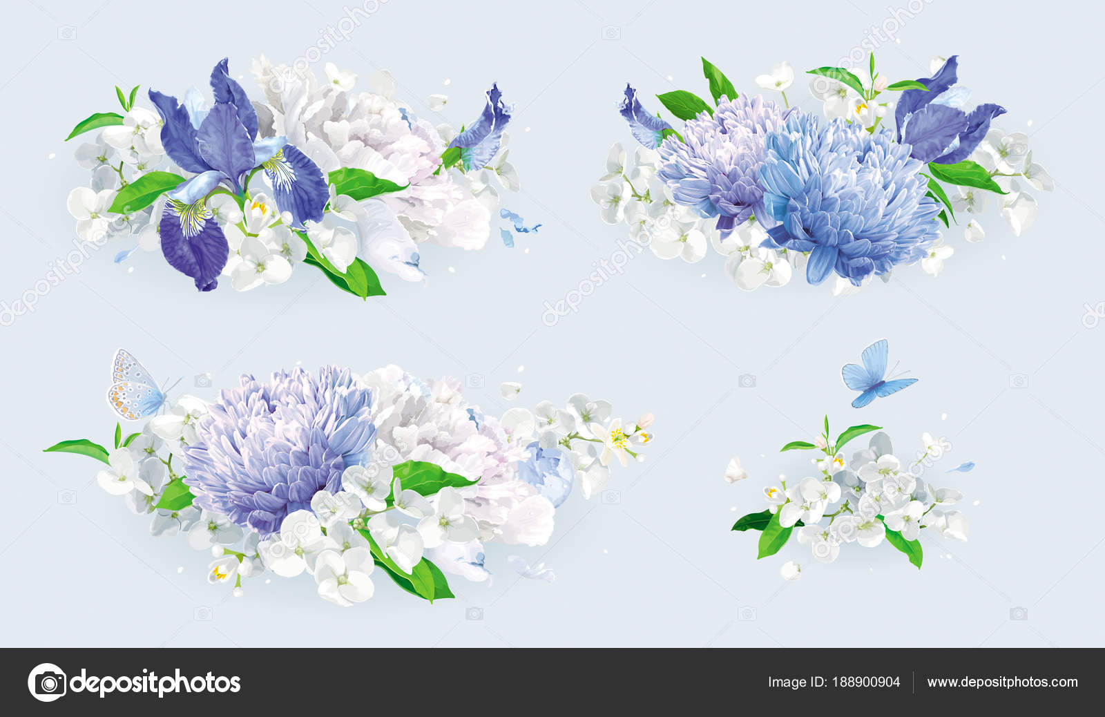White and blue summer flowers bouquet set — Stock Vector © LisaShu ...