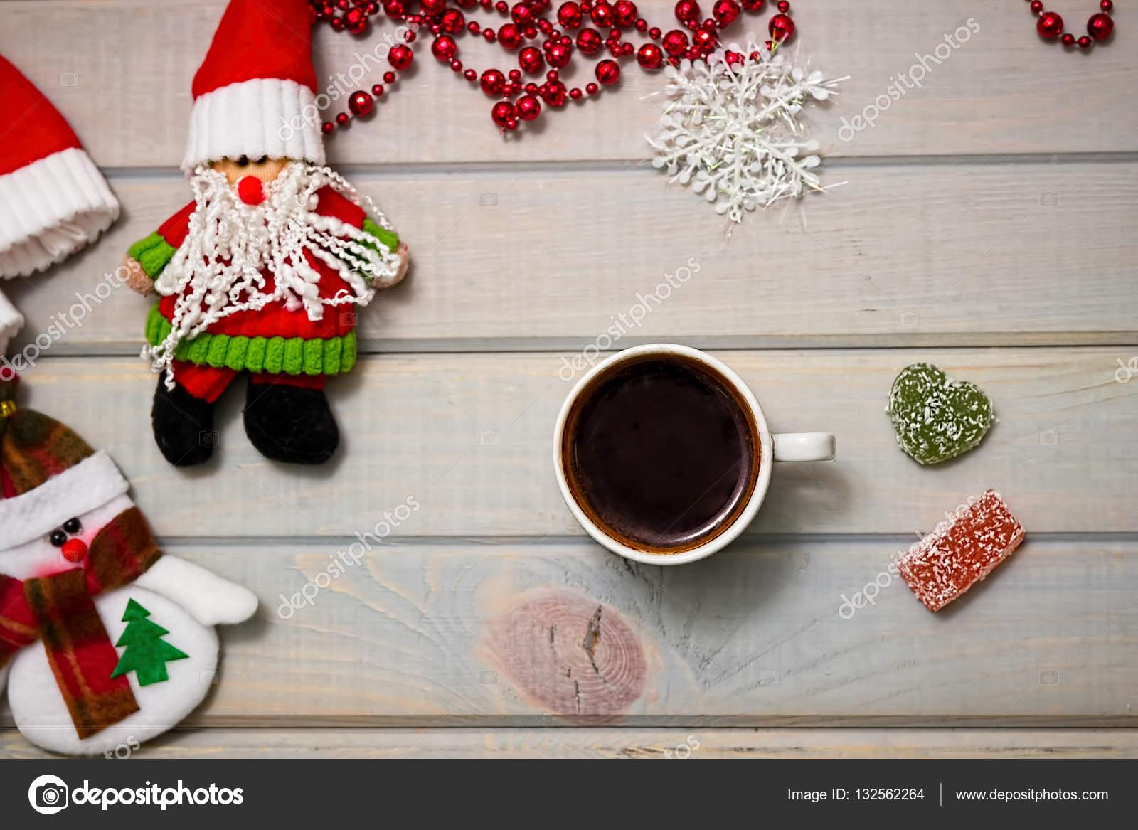 Making Christmas.Coffee Break Making Christmas Toys Stock Photo