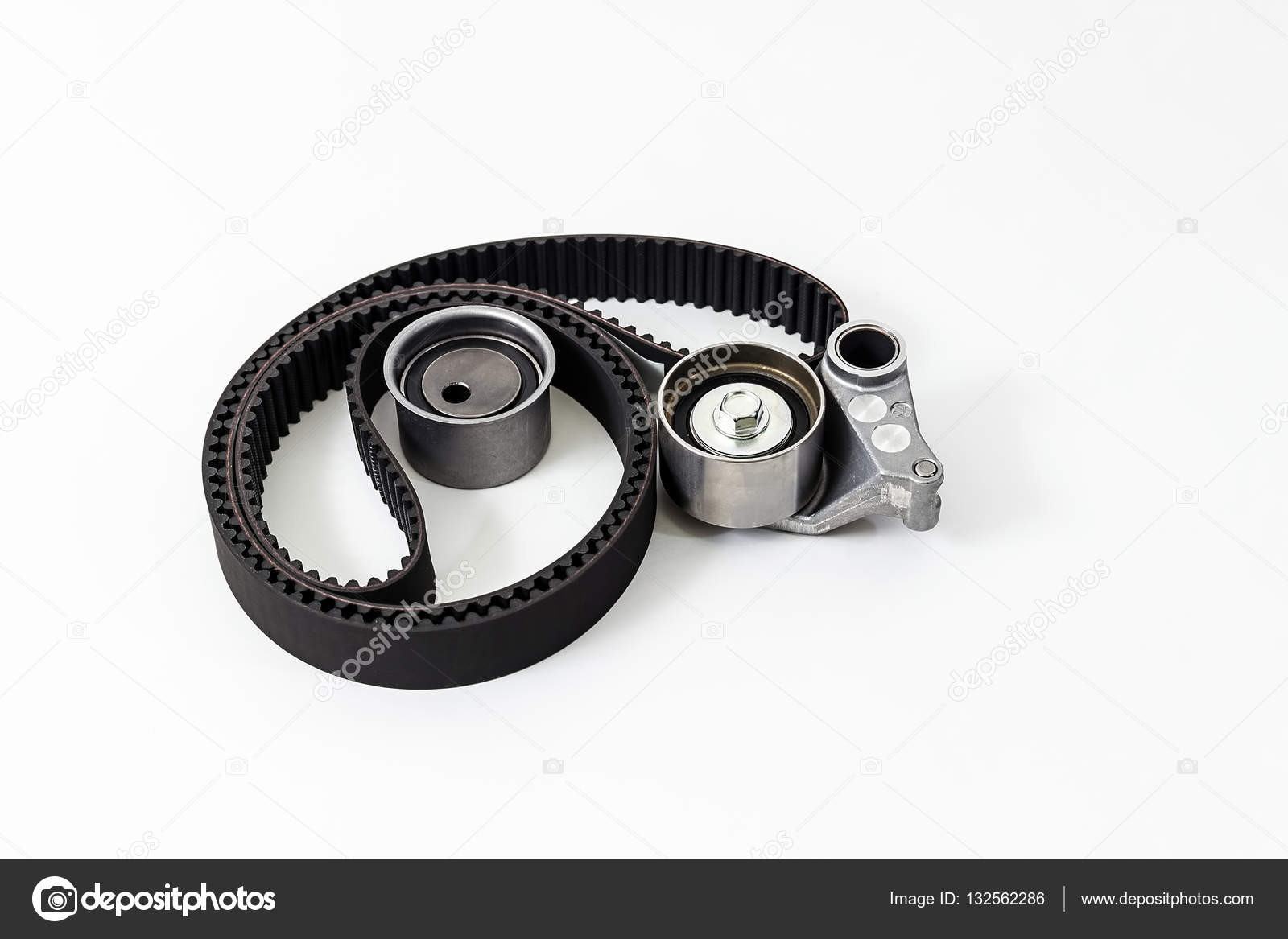 Kit Of Timing Belt With Rollers On A White Background Isolated Auto Gear Parts Spare