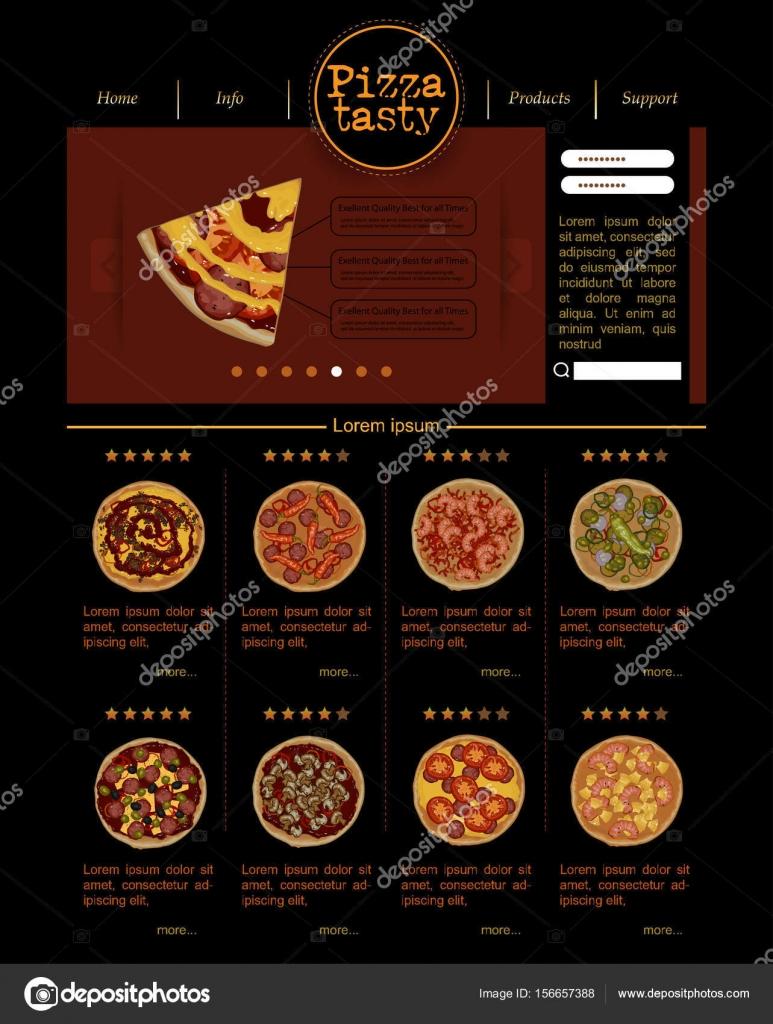 Plantilla de sitio web con variedades de pizza — Vector de stock ...
