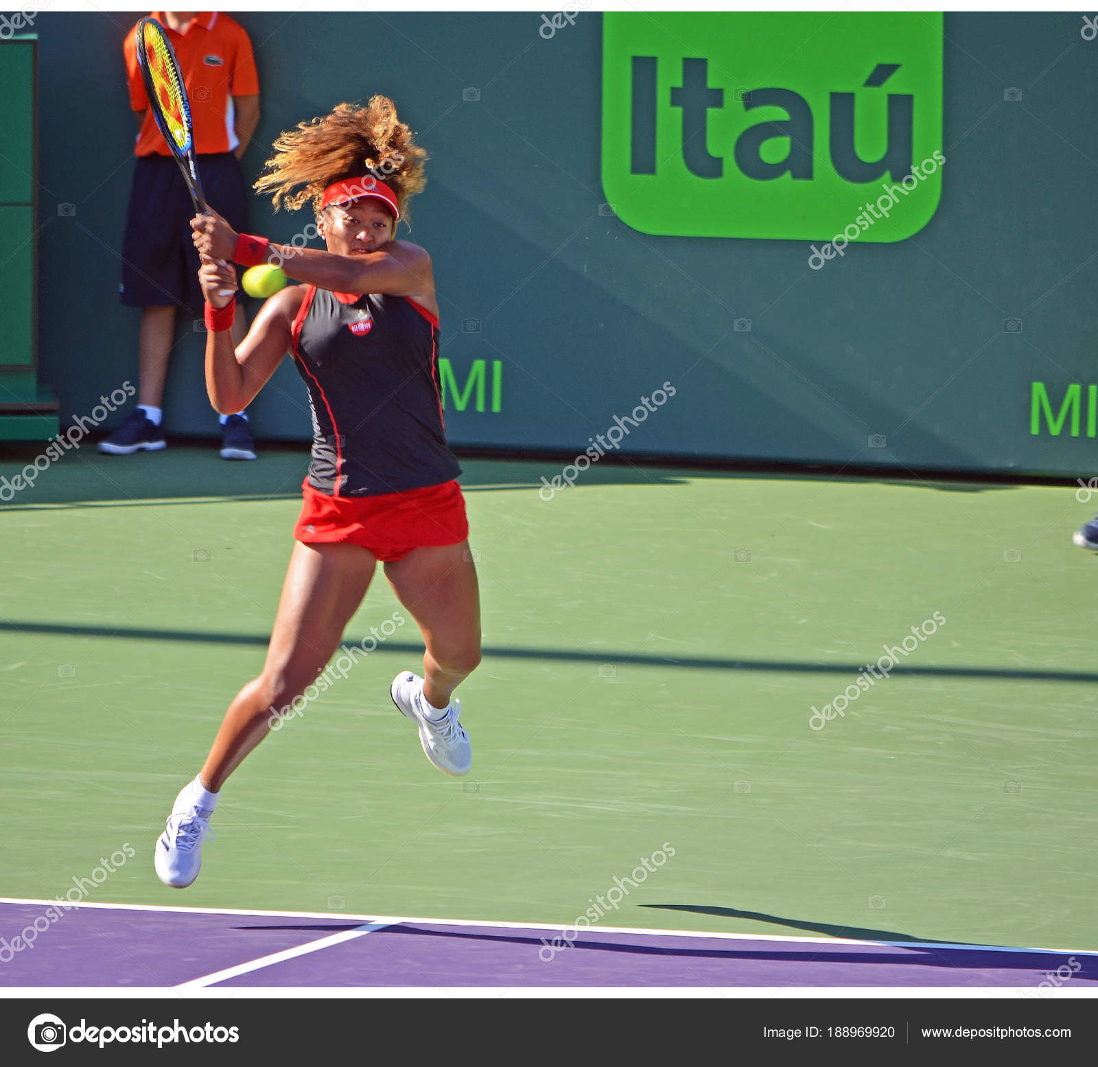Naomi Osaka Driving A Two Handed Backhand Down The Line In First Round Match Up With Serena Williams At Miami Open Tennis TournamentCrandon ParkKey