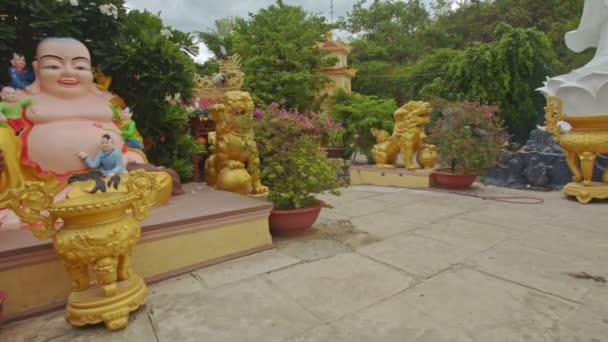 buddhist temple square with god statues