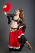 Photo Lady in Red and Black Flamenco Costume with Red Fan in Hand