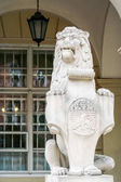 Fotografie closeup stone sculpture of sitting lion with city of Lvov armorial bearings against restaurant glass window and lantern