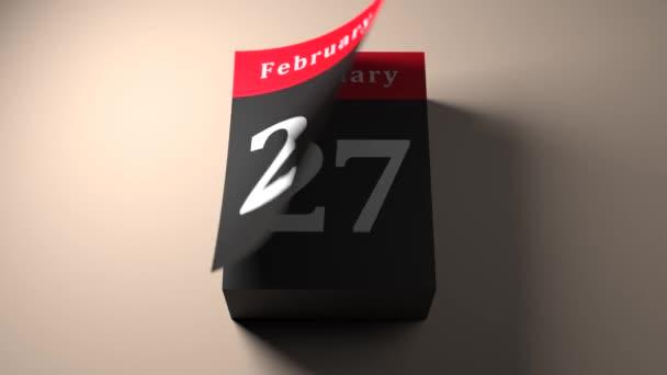rychlé posouvání kalendáře zobrazující každý den a měsíc s obrácenými stránkami, timelapse v3