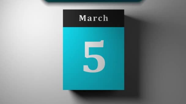 fast calendar blue scrolling showing every day and month with flipping pages, timelapse v3