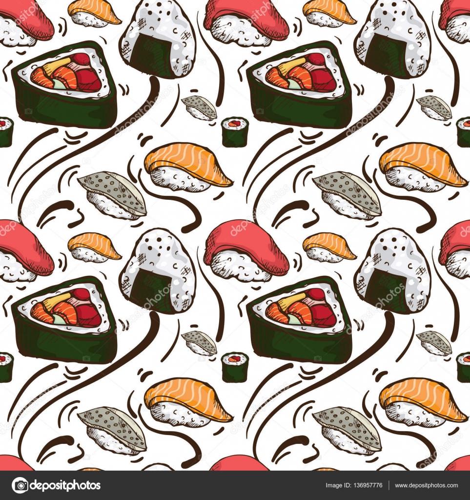 Illustration Sushi Hd Wallpaper Pattern Sushi Wallpaper