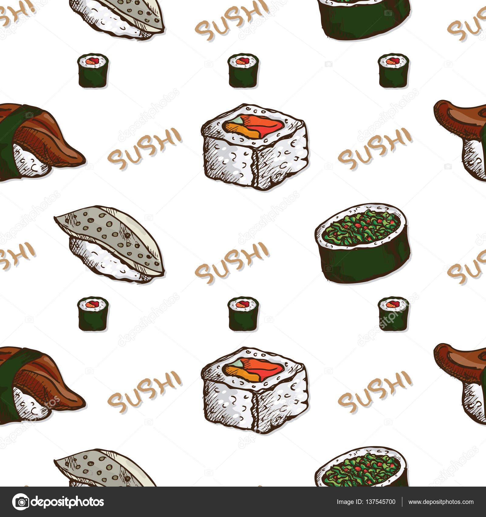 Pattern Sushi Wallpaper Stock Vector Foontntd 137545700