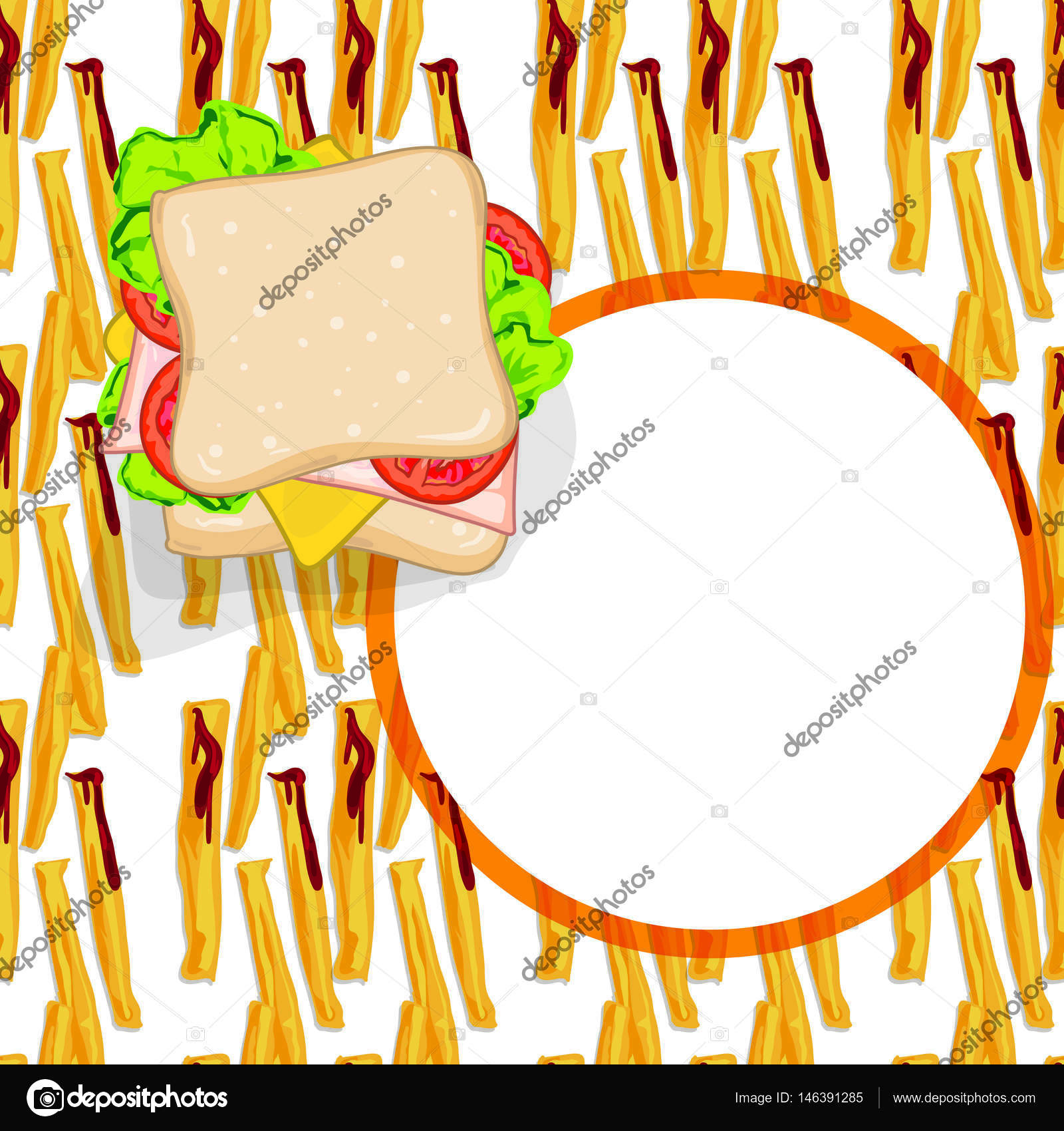 Pattern Food French Fries Sandwich Template Stock Vector